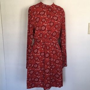 Bohemian navy blue red print dress